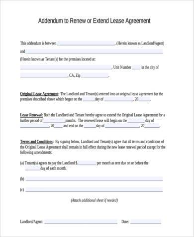 High Quality Rental Agreement Renewal Format