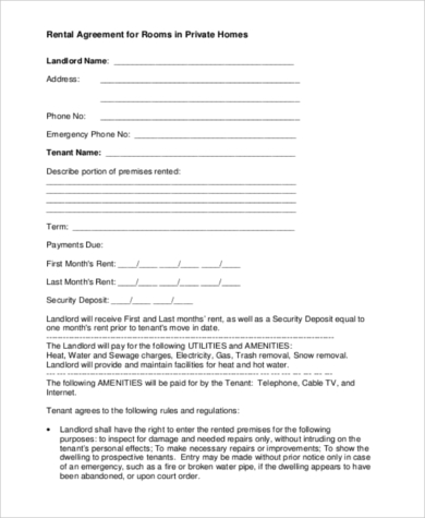 Room Rental Agreement Printable Room Rental Agreement Printable