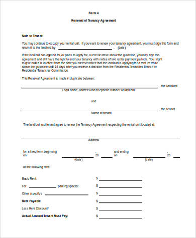 Rental Contract Renewal Form