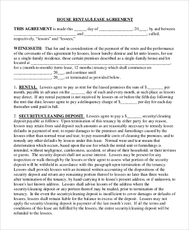 rental house lease agreement