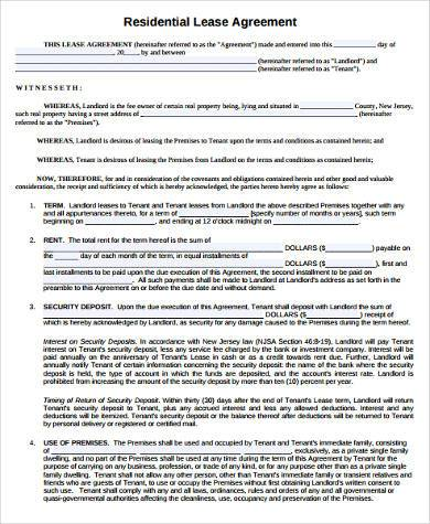 Rental Lease Agreement Form Samples   Free Documents In Word Pdf