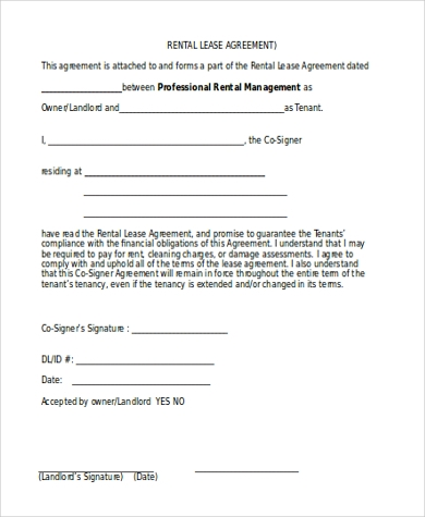rental lease agreement form sample
