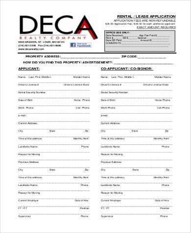 rental lease application sample