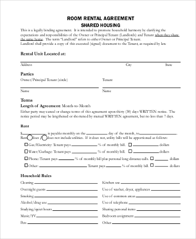 rental room agreement form