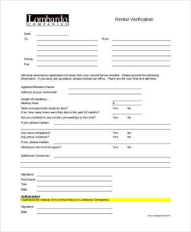 rental verification form