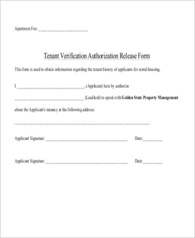 Rental Verification Form Samples   Free Documents In Word Pdf