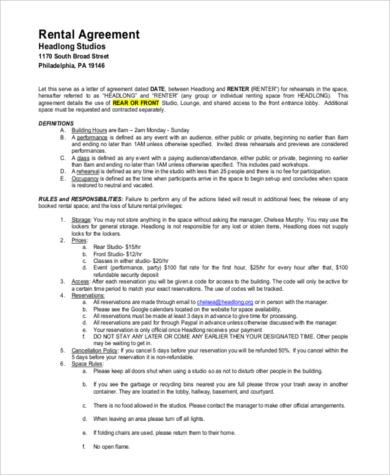 renters agreement contract printable