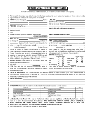 renters contract example