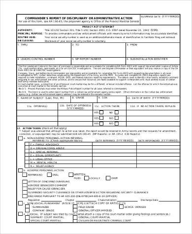 report of administrative action form