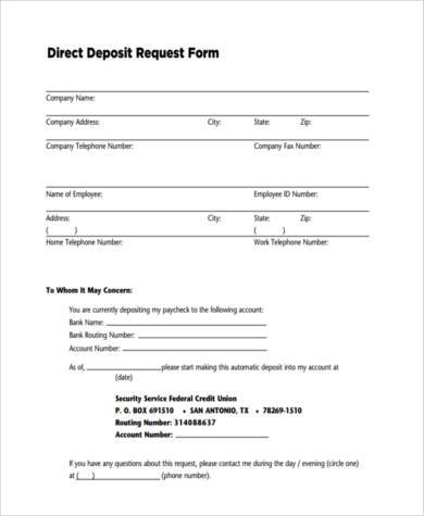 Direct Deposit Request Form  BesikEightyCo