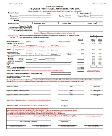 request for travel authorization form