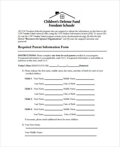 required parent information form