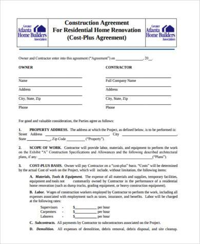 residential construction agreement form