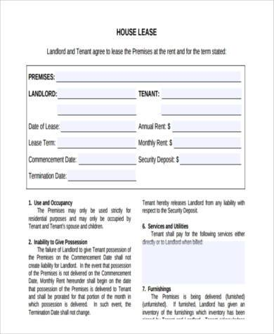 residential house lease agreement form