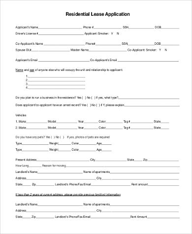 Sample Residential Lease Application Form   Free Documents In