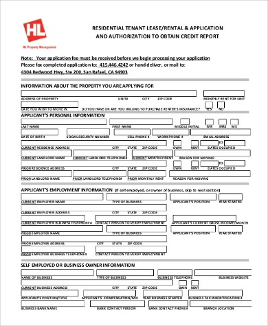 residential lease credit application