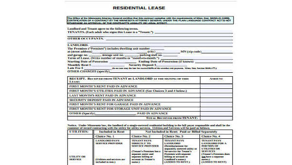 Free 9 Residential Lease Form Samples In Word Pdf