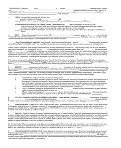 residential lease rental agreement and deposit receipt