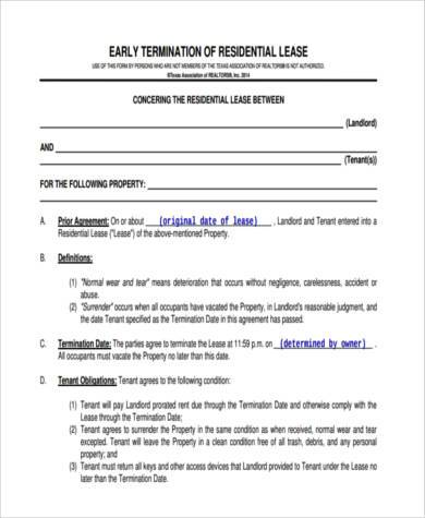residential lease termination agreement form