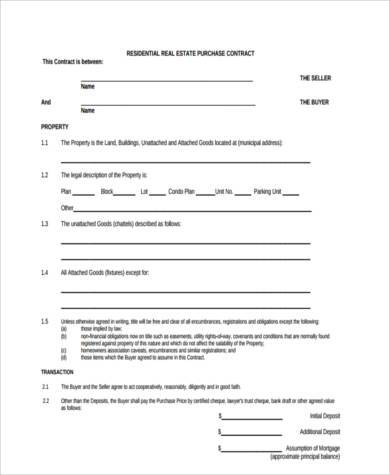 residential real estate contract form1