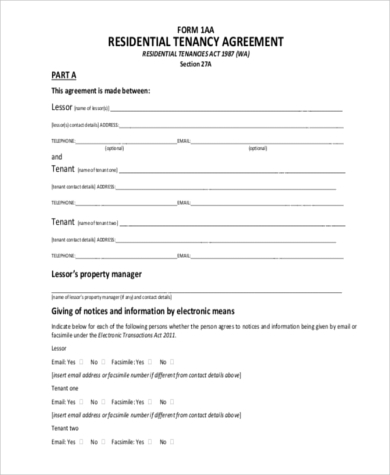 residential rental agreement sample