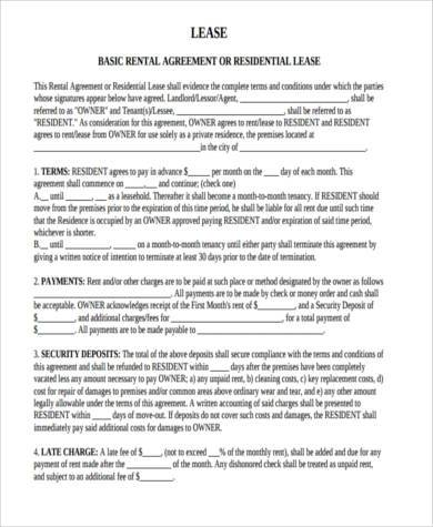 residential rental lease agreement form