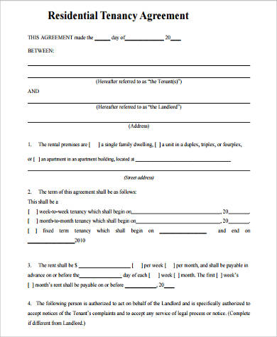 residential tenancy agreement form