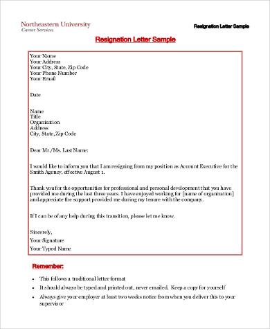 resign letter format sample