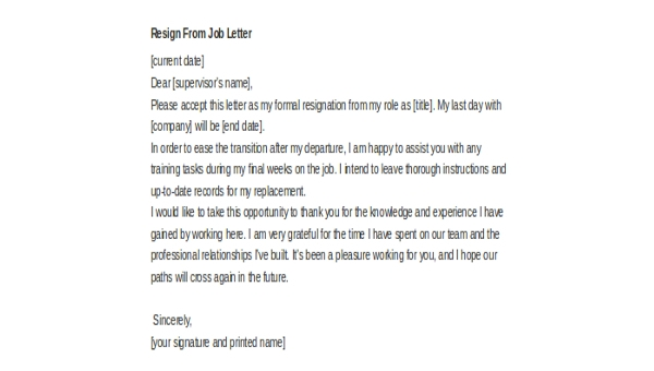 Writing A Resignation Letter Example from images.sampleforms.com