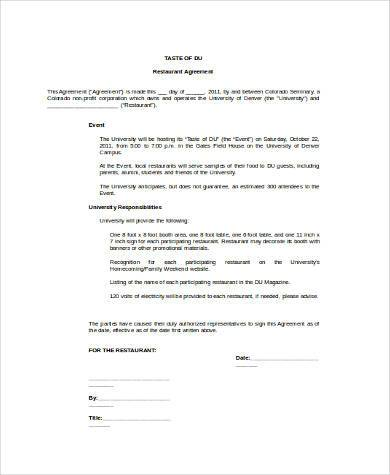 restaurant consulting agreement form