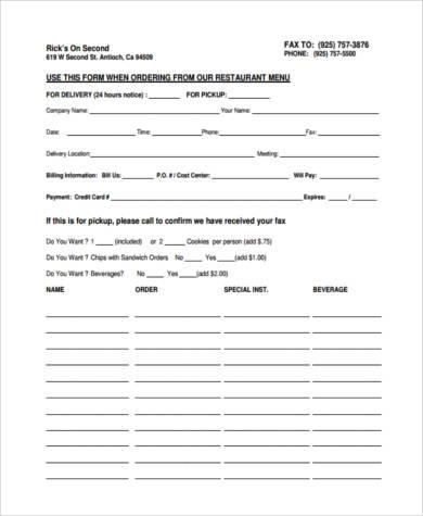 restaurant food order form