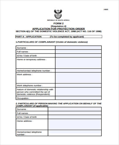 Restraining Order Form Samples   Free Documents In Pdf