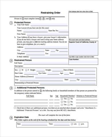 Free 7 Restraining Order Form Samples Pdf