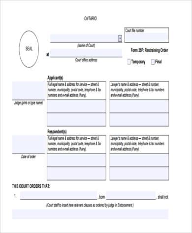 restraining order form in pdf