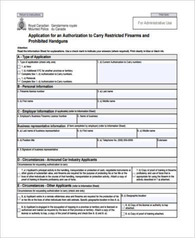 restricted firearm transfer form