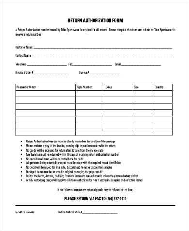 return authorization form example