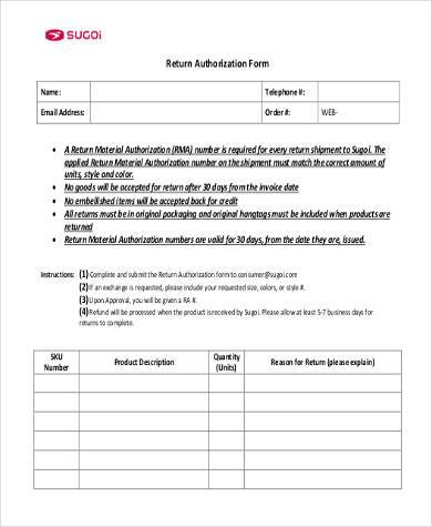 return authorization form in pdf