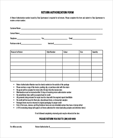 Sample return authorization forms 10 free documents in for Rma request form template