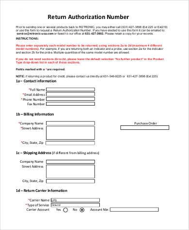 return authorization number form