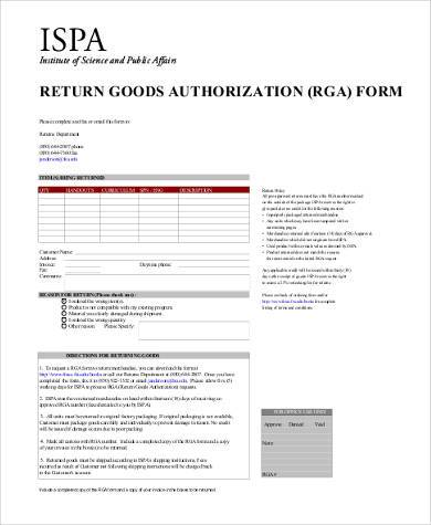 return goods authorization form