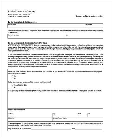 return to work authorization form3
