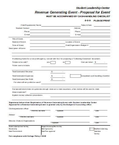 revenue event proposal form