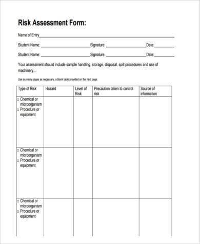 risk assessment form sample in pdf