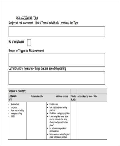 risk assessment review form example