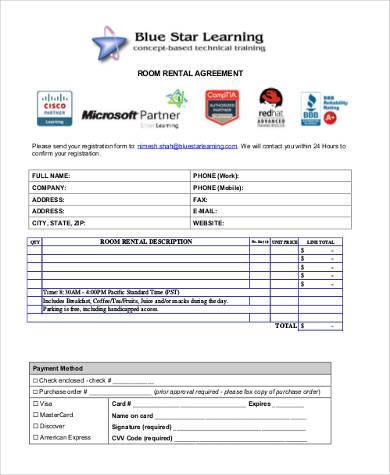 room rental agreement form pdf1