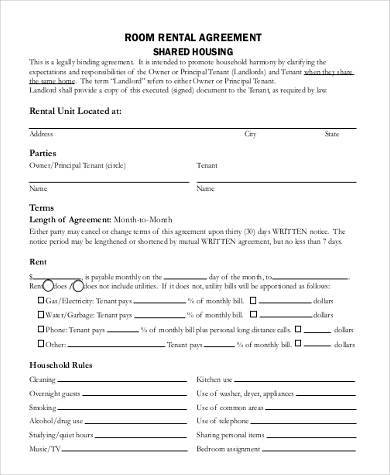 room rental agreement form1