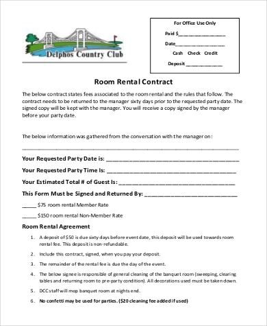 Room Rental Agreement Form Samples   Free Documents In Pdf