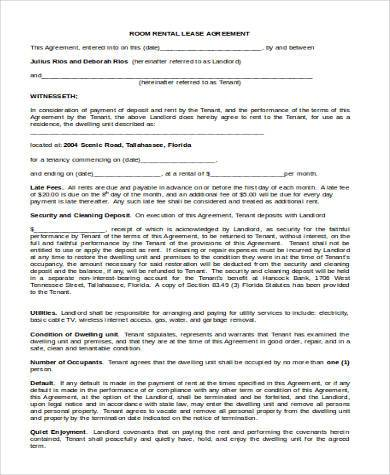 room rental lease form