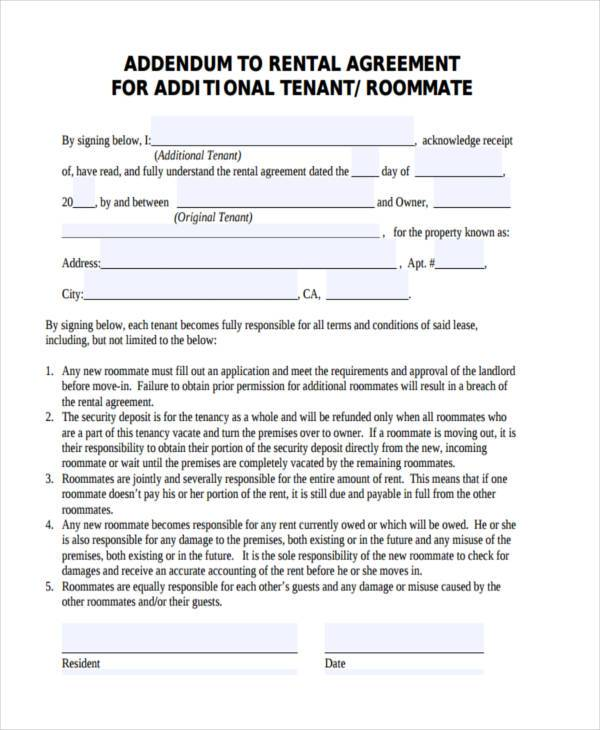 roommate rental agreement sample