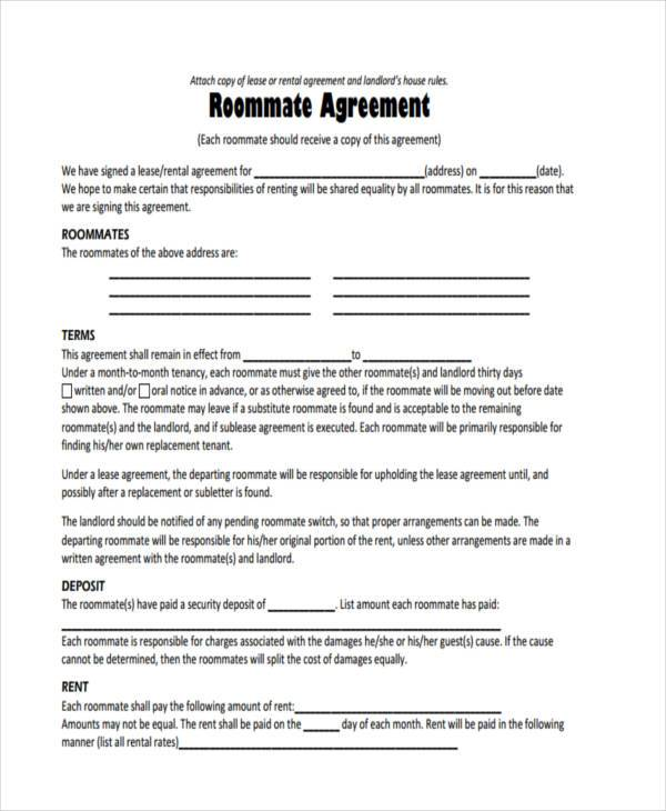 roommate rules agreement example